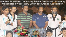 Secretatry Sindh Taekwondo Association Kamran Kamar Kuraishi conducted 5th belt promotion test Prince Taekwondo Academy